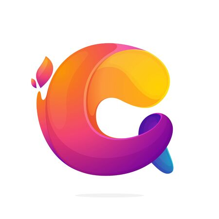C letter logo consisting of fire flames. Font style, vector design template elements for your application or corporate identity.