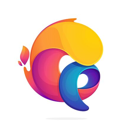 Q letter logo consisting of fire flames. Font style, vector design template elements for your application or corporate identity.