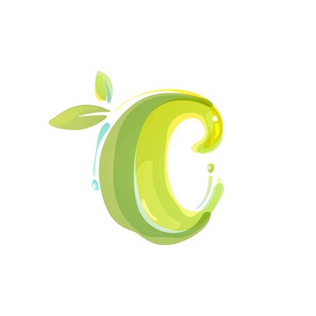 C letter eco logo formed by watercolor splashes. Green overlay style. Vector typeface for labels, headlines, posters, cards etc.