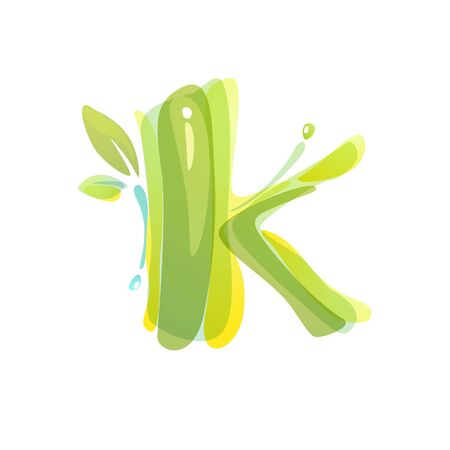 K letter eco logo formed by watercolor splashes. Green overlay style. Vector typeface for labels, headlines, posters, cards etc. Ilustrace