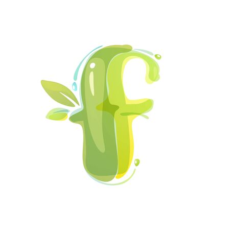 F letter eco logo formed by watercolor splashes. Green overlay style. Vector typeface for labels, headlines, posters, cards etc.
