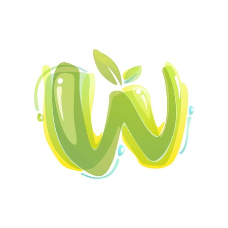 W letter eco logo formed by watercolor splashes. Green overlay style. Vector typeface for labels, headlines, posters, cards etc.