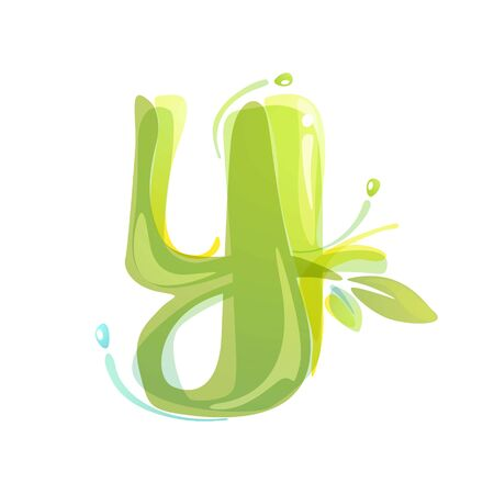 Y letter eco logo formed by watercolor splashes. Green overlay style. Vector typeface for labels, headlines, posters, cards etc.