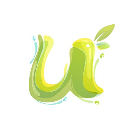 U letter eco logo formed by watercolor splashes. Green overlay style. Vector typeface for labels, headlines, posters, cards etc.