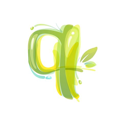 Q letter eco logo formed by watercolor splashes. Green overlay style. Vector typeface for labels, headlines, posters, cards etc.