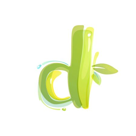 D letter eco logo formed by watercolor splashes. Green overlay style. Vector typeface for labels, headlines, posters, cards etc.