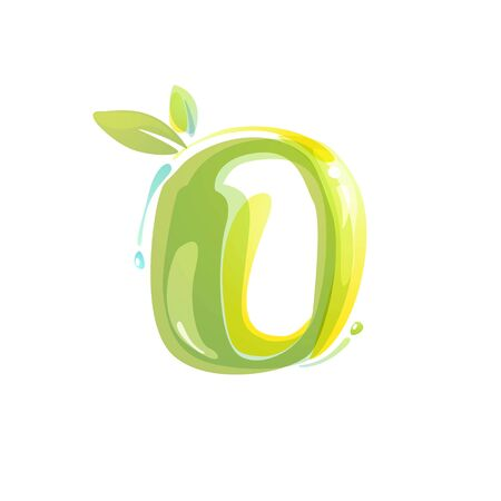 O letter eco logo formed by watercolor splashes. Green overlay style. Vector typeface for labels, headlines, posters, cards etc.