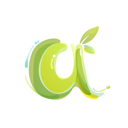Letter A eco logo formed by watercolor splashes. Green overlay style. Vector typeface for labels, headlines, posters, cards etc.