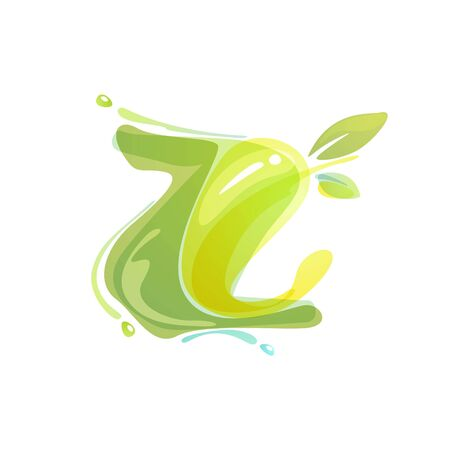 Z letter eco logo formed by watercolor splashes. Green overlay style. Vector typeface for labels, headlines, posters, cards etc.
