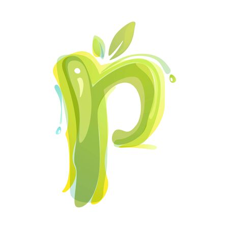 P letter eco logo formed by watercolor splashes. Green overlay style. Vector typeface for labels, headlines, posters, cards etc.