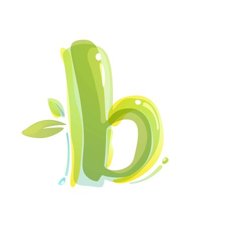 B letter eco logo formed by watercolor splashes. Green overlay style. Vector typeface for labels, headlines, posters, cards etc.