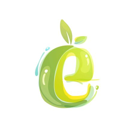 E letter eco logo formed by watercolor splashes. Green overlay style. Vector typeface for labels, headlines, posters, cards etc.