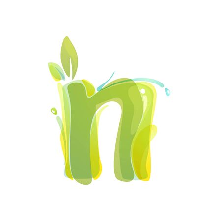 N letter eco logo formed by watercolor splashes. Green overlay style. Vector typeface for labels, headlines, posters, cards etc. Ilustrace