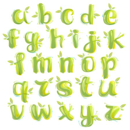 Eco alphabet formed by watercolor splashes. Green overlay style. Vector typeface for labels, headlines, posters, cards etc.