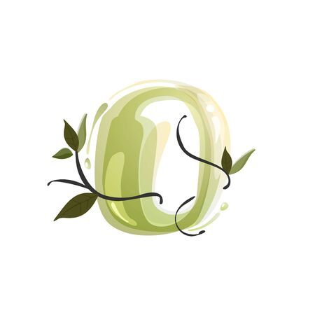 O letter watercolor hand drawn green natural logo.  Watercolor splashes style. Vector typeface for eco, vegan, bio, raw, organic template. Ilustrace