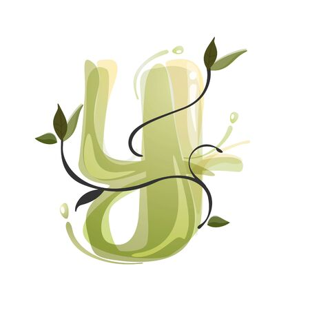 Y letter watercolor hand drawn green natural logo.  Watercolor splashes style. Vector typeface for eco, vegan, bio, raw, organic template.