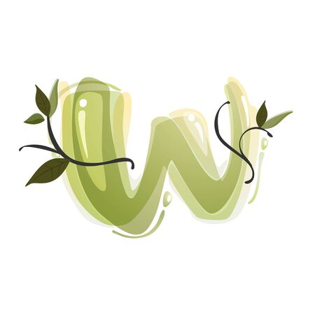 W letter watercolor hand drawn green natural logo.  Watercolor splashes style. Vector typeface for eco, vegan, bio, raw, organic template.