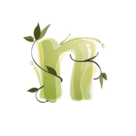 N letter watercolor hand drawn green natural logo.  Watercolor splashes style. Vector typeface for eco, vegan, bio, raw, organic template. Çizim