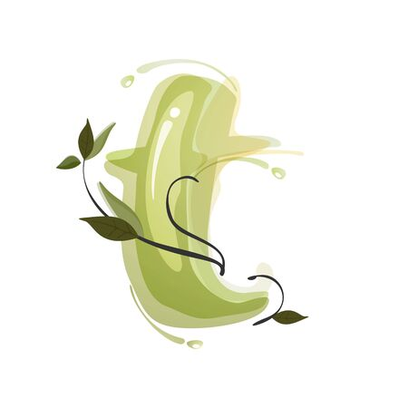 T letter watercolor hand drawn green natural logo.  Watercolor splashes style. Vector typeface for eco, vegan, bio, raw, organic template.