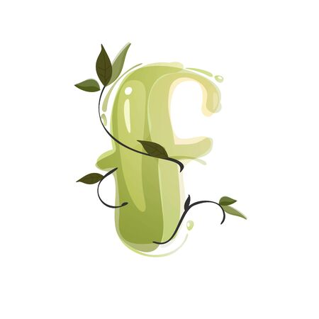 F letter watercolor hand drawn green natural logo.  Watercolor splashes style. Vector typeface for eco, vegan, bio, raw, organic template.