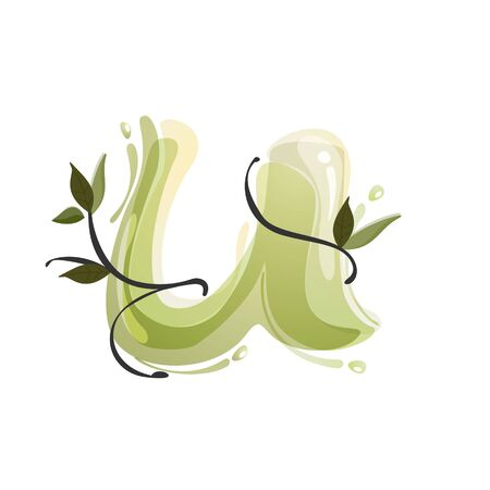 U letter watercolor hand drawn green natural logo.  Watercolor splashes style. Vector typeface for eco, vegan, bio, raw, organic template.