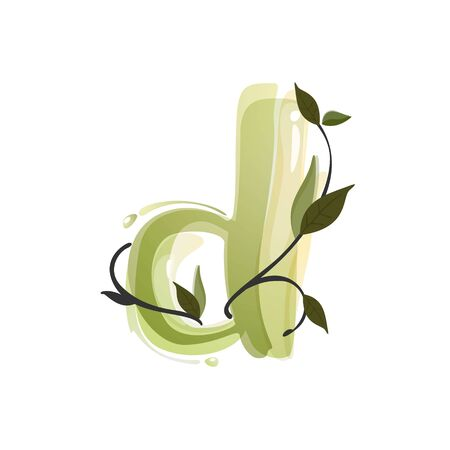 D letter watercolor hand drawn green natural logo.  Watercolor splashes style. Vector typeface for eco, vegan, bio, raw, organic template.