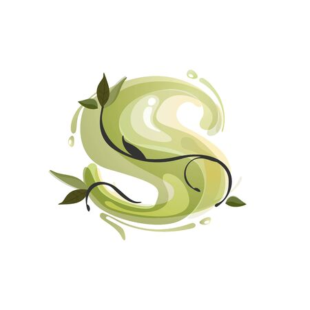 S letter watercolor hand drawn green natural logo.  Watercolor splashes style. Vector typeface for eco, vegan, bio, raw, organic template.