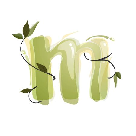 M letter watercolor hand drawn green natural logo.  Watercolor splashes style. Vector typeface for eco, vegan, bio, raw, organic template.