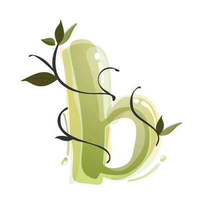 B letter watercolor hand drawn green natural logo.  Watercolor splashes style. Vector typeface for eco, vegan, bio, raw, organic template. Çizim