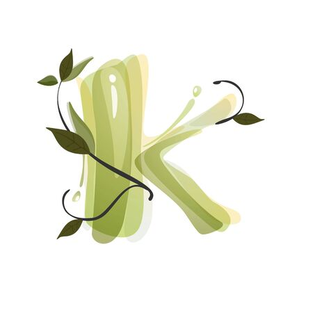 K letter watercolor hand drawn green natural logo.  Watercolor splashes style. Vector typeface for eco, vegan, bio, raw, organic template.