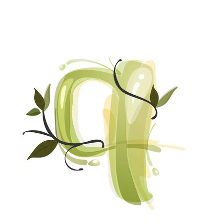 Q letter watercolor hand drawn green natural logo.  Watercolor splashes style. Vector typeface for eco, vegan, bio, raw, organic template. Çizim