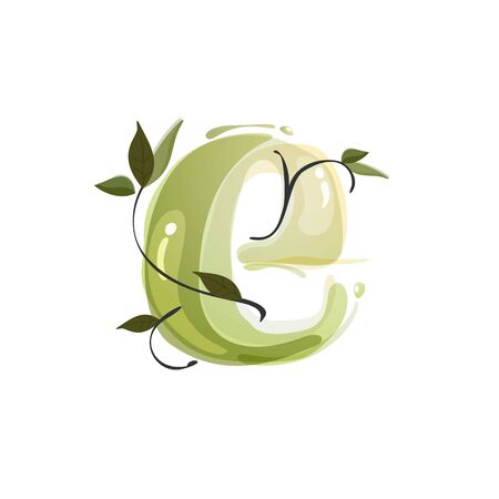 E letter watercolor hand drawn green natural logo.  Watercolor splashes style. Vector typeface for eco, vegan, bio, raw, organic template.
