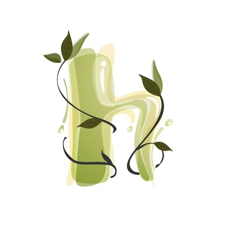 H letter watercolor hand drawn green natural logo.  Watercolor splashes style. Vector typeface for eco, vegan, bio, raw, organic template.