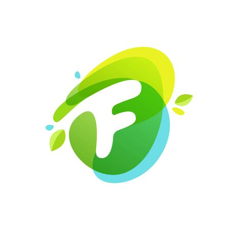 Letter F at green watercolor splash background. Vector elements for posters, t-shirts, ecology presentation or card.