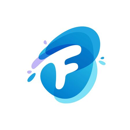 Letter F at blue water splash background. Vector ecology elements for posters, t-shirts, ecology presentation or card.