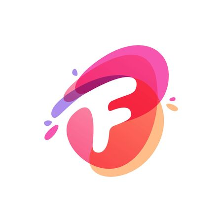 Letter F at colorful watercolor splash background. Vector elements for posters, t-shirts and cards.