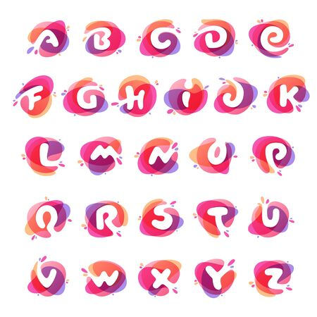 Alphabet at colorful watercolor splash background. Vector elements for posters, t-shirts and cards. Illusztráció
