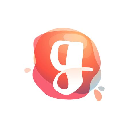 G letter at colorful watercolor splash background. Color overlay style. Vector typeface for labels, headlines, posters, cards etc. Illusztráció