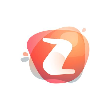 Z letter at colorful watercolor splash background. Color overlay style. Vector typeface for labels, headlines, posters, cards etc.