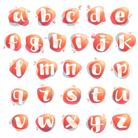 Alphabet letters at colorful watercolor splash background. Color overlay style. Vector typeface for labels, headlines, posters, cards etc.