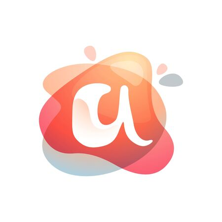 Letter A at colorful watercolor splash background. Color overlay style. Vector typeface for labels, headlines, posters, cards etc.