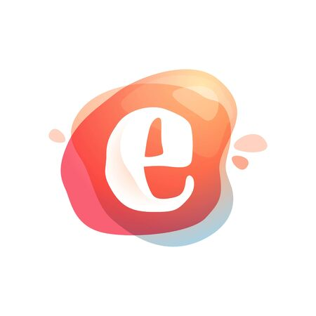 E letter at colorful watercolor splash background. Color overlay style. Vector typeface for labels, headlines, posters, cards etc.