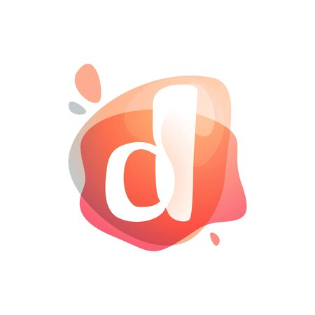 D letter at colorful watercolor splash background. Color overlay style. Vector typeface for labels, headlines, posters, cards etc.