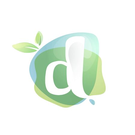 D letter logo with negative space at green watercolor splash background. Vector elements for organic food labels, ecology presentation, card etc.