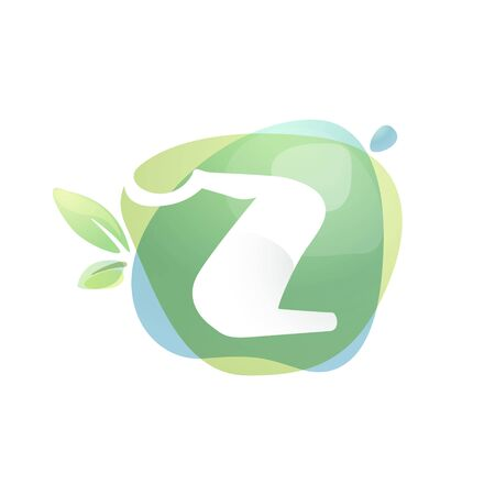 Z letter logo with negative space at green watercolor splash background. Vector elements for organic food labels, ecology presentation, card etc. 일러스트