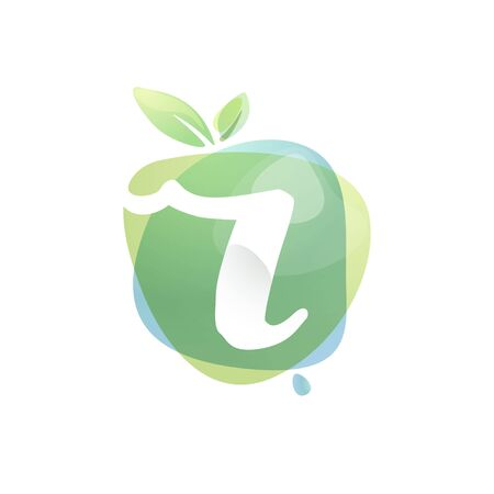 R letter logo with negative space at green watercolor splash background. Vector elements for organic food labels, ecology presentation, card etc.