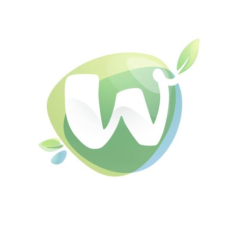 W letter logo with negative space at green watercolor splash background. Vector elements for organic food labels, ecology presentation, card etc. 일러스트