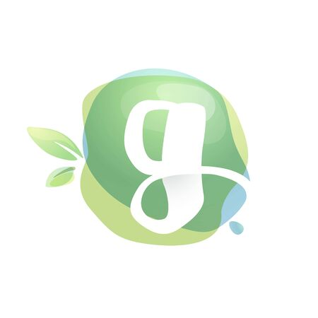G letter logo with negative space at green watercolor splash background. Vector elements for organic food labels, ecology presentation, card etc.