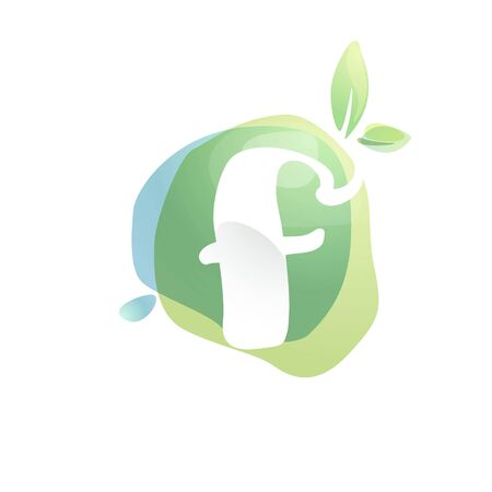 F letter logo with negative space at green watercolor splash background. Vector elements for organic food labels, ecology presentation, card etc.