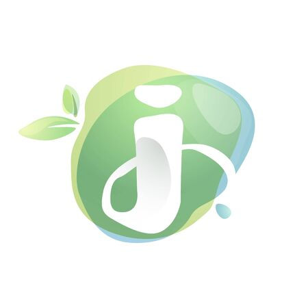 J letter logo with negative space at green watercolor splash background. Vector elements for organic food labels, ecology presentation, card etc. 일러스트